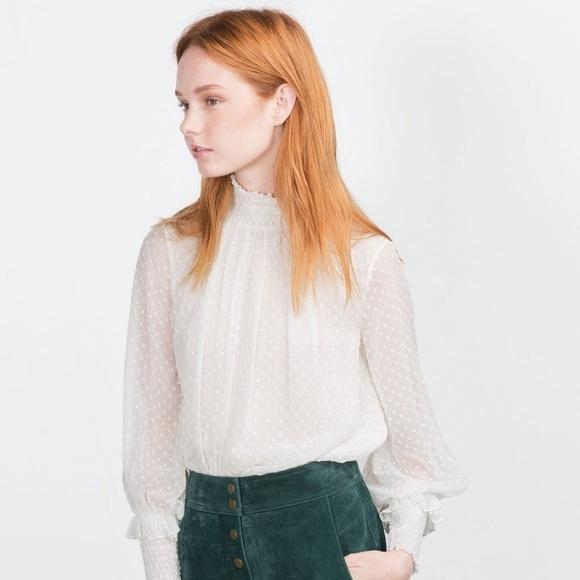 a172d17d9003f2 Zara Tops | Romantic Sheer Swiss Dot High Neck Blouse | Poshmark